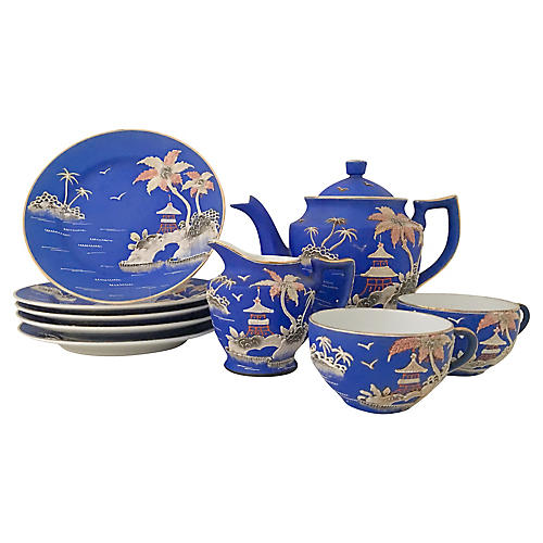 10-Pc Japanese Porcelain Moriage Tea Set
