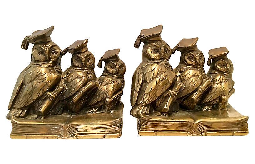 Brass Owl Bookends, Pair
