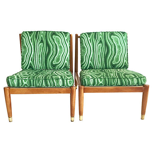 Swedish Modern Slipper Chairs, Pair