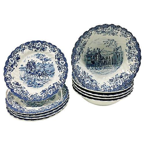 English Ceramic Dinnerware Set, 10 Pcs