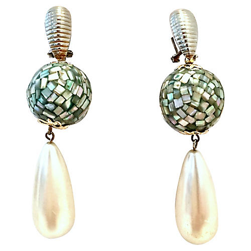 Abalone Shell & Faux Pearl Earrings