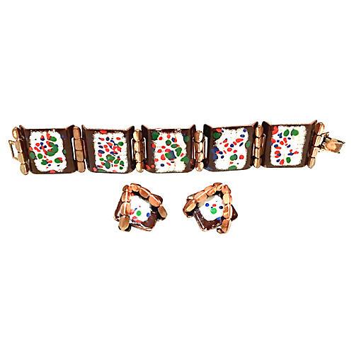 1950s Matisse Link Bracelet & Earrings