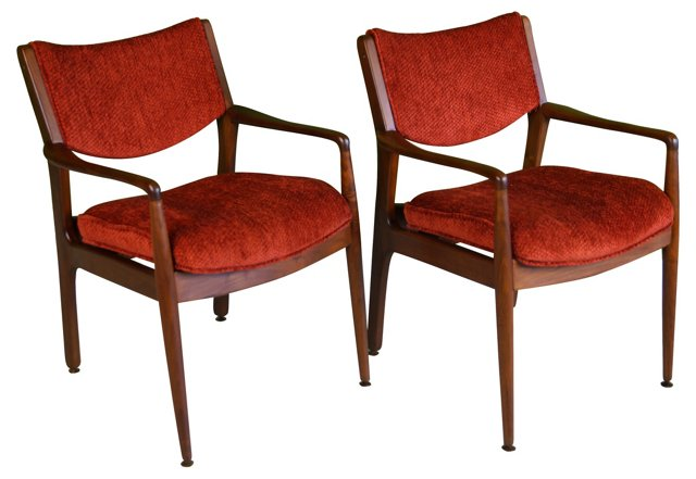Walnut  Lounge Chairs, Pair