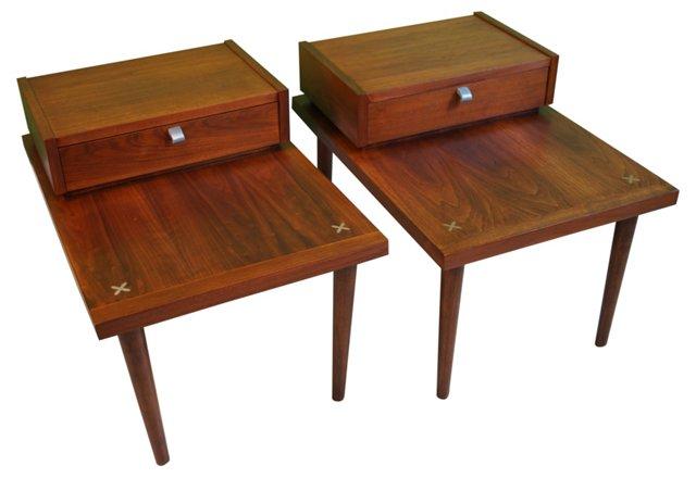 Walnut End  Tables, Pair