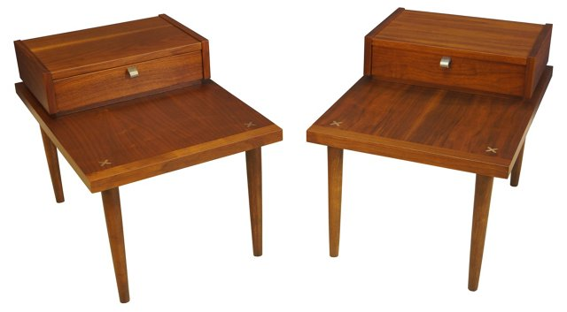 Walnut  End Tables, Pair