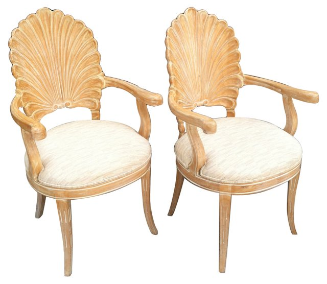Clamshell  Chairs, Pair