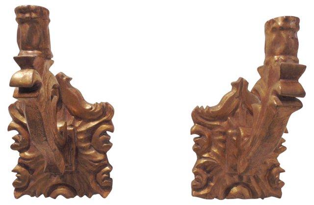 Italian Gilt Candle Sconces, Pair