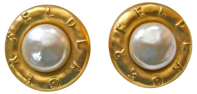 Lagerfeld Glass Pearl Earrings