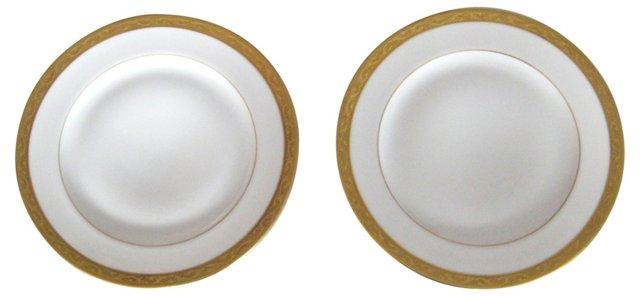 Gold-Trim Plates, Pair