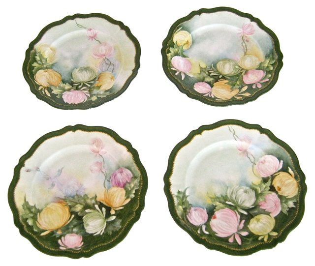 Antique Hand-Painted Plates, S/4