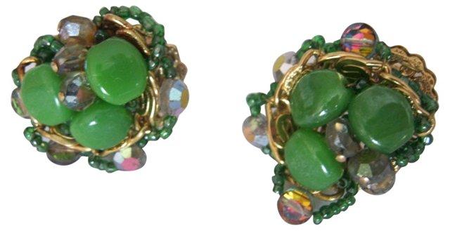 1950s Glass Jade & Rhinestone Earrings
