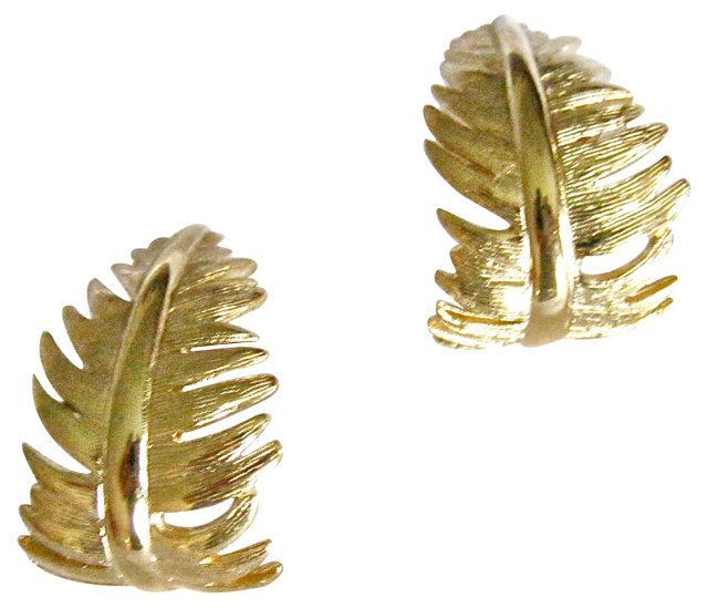 Givenchy Goldtone Feather Earrings