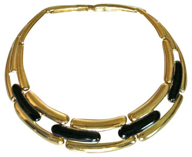 1980s Givenchy Black & Goldtone Collar