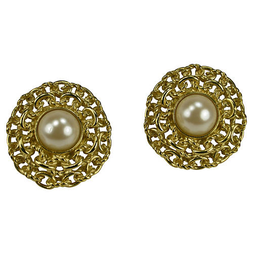 1980s Givenchy Glass Pearl Earrings