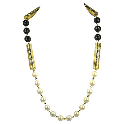 Givenchy Gold & Glass Pearl Necklace