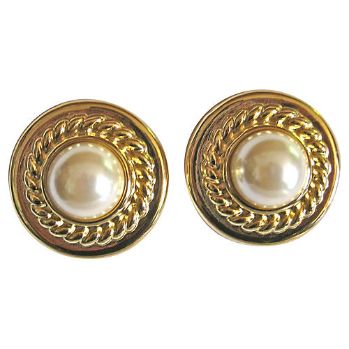 Givenchy Gold-Plate Shield Earrings