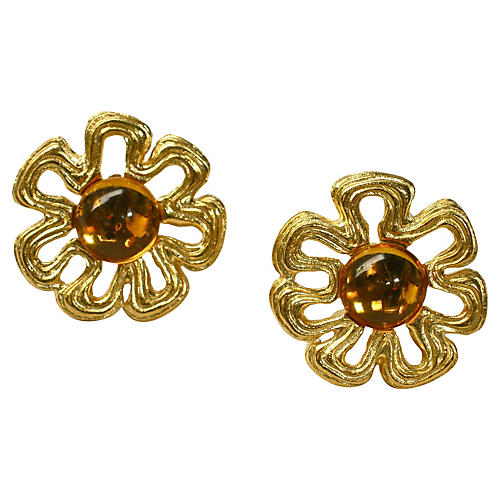 Givenchy Oversize Honey Amber Earrings