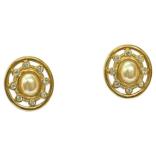 Givenchy Crystal & Pearl Earrings