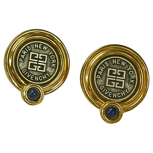 Givenchy Blue Lapis Coin Earrings