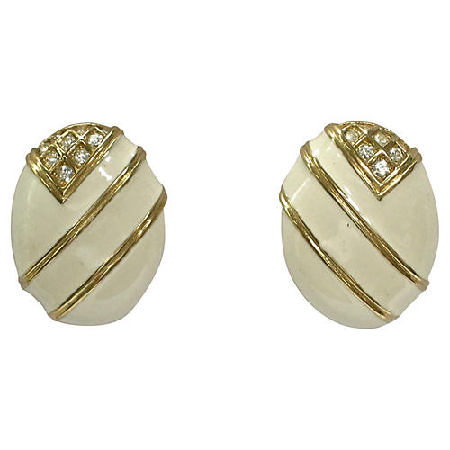 Givenchy White Enamel & Crystal Earrings
