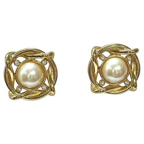 Givenchy Gold Crystal Pearl Earrings