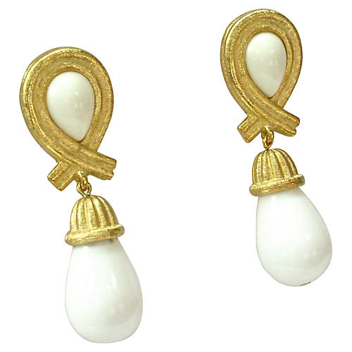 Givenchy Gold Milk Glass Drop Earrings