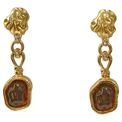 Givenchy Amber Cabochon Drop Earrings