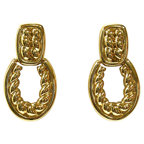 Givenchy Gold Cable Knocker Earrings
