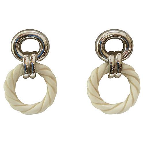Modernist Silver-Plate Drop Earrings