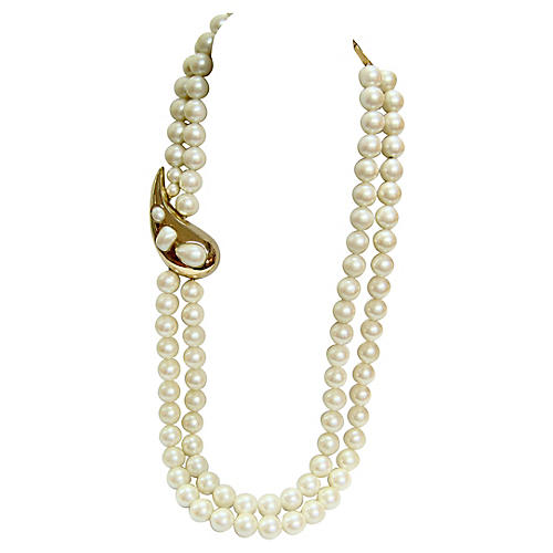 Givenchy Gold Paisley Pearl Necklace