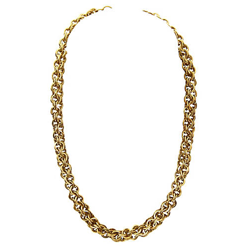 Gold-Plated Box Link Necklace