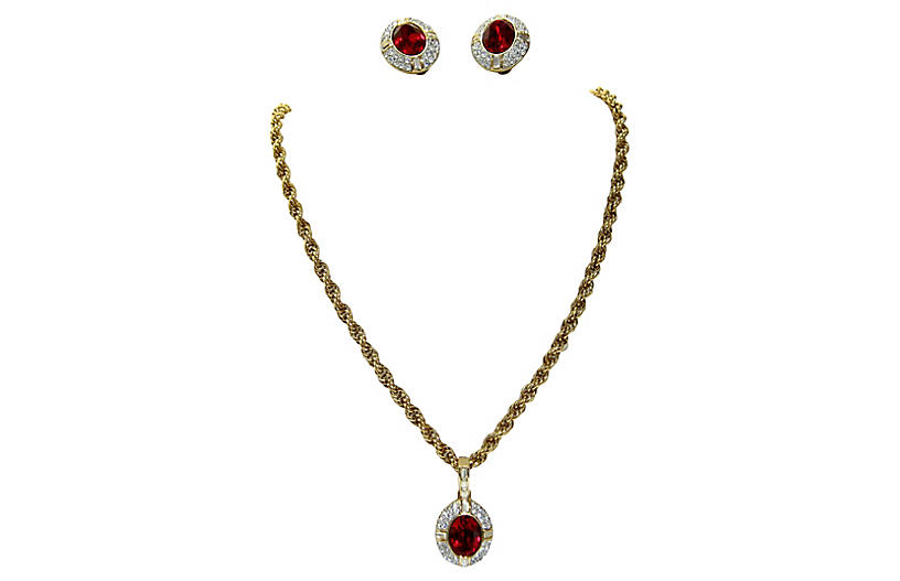 Givenchy Crystal Necklace & Earring Set