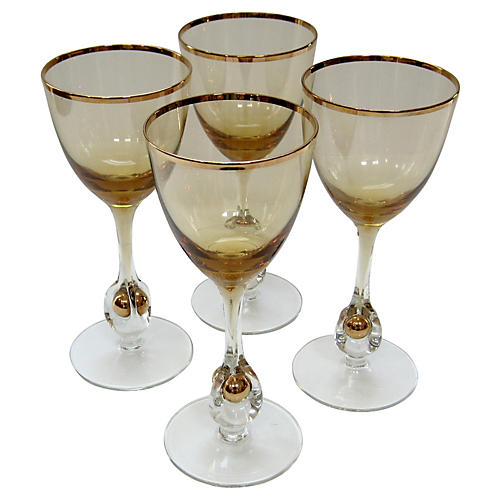 Elegant Crystal Wineglasses, S/4