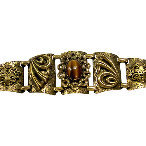 Tiger's-Eye Filigree Goldtone Bracelet