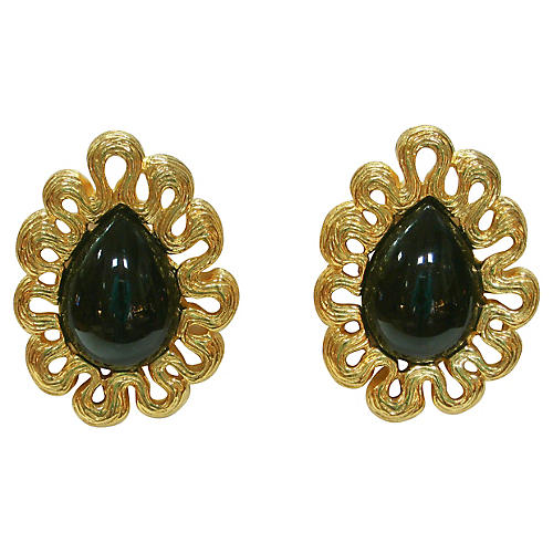 Givenchy Gold & Black Amethyst Earrings