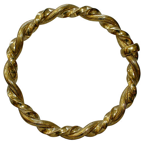 Oversize Gold Cable Brooch