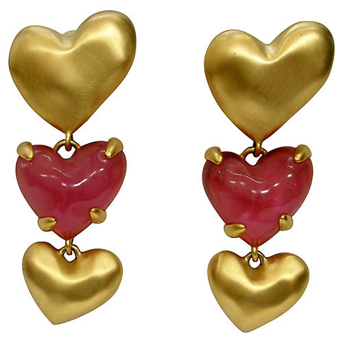 Givenchy Poured Glass Heart Earrings