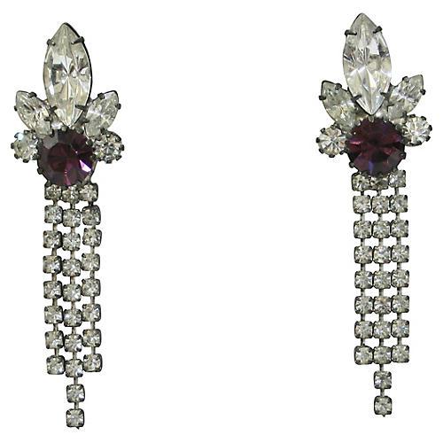 1960s Amethyst Crystal Earrings