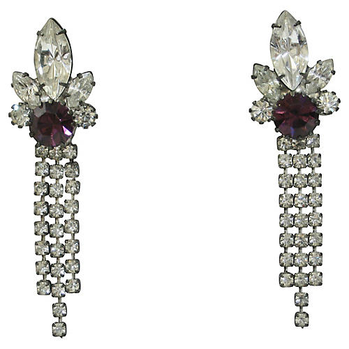 1960s Amethyst Crystal Earrings