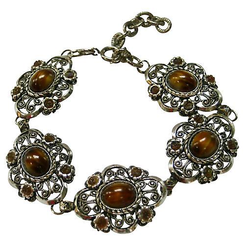 1940s Filigree Tiger's Eye Bracelet
