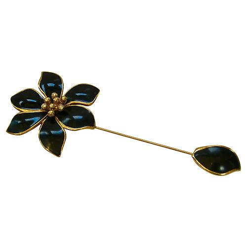 Givenchy Black Enamel & Gold Stick Pin