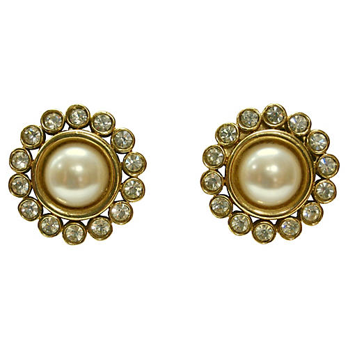 Givenchy Faux-Pearl & Crystal Earrings