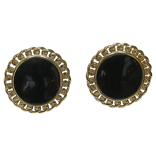 1980s Gold & Black Cable Earrings