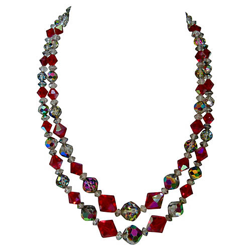 1940s Double-Strand Crystal Necklace
