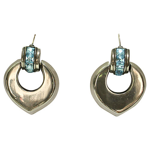 Givenchy Icy Blue Silver Earrings