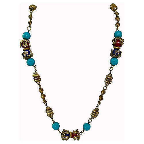 1950s Turquoise Multi-Beaded Necklace