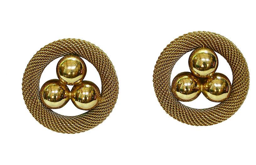 1980s Gold Modernist Mesh Earrings
