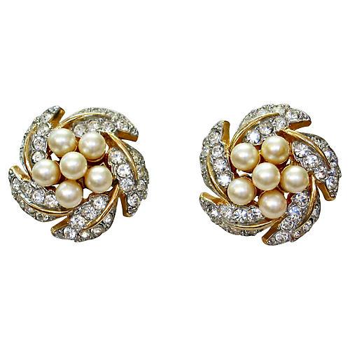 1960s Faux-Pearl & Crystal Earrings