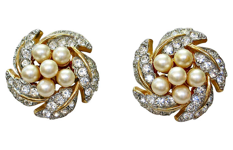 1960s Faux-Pearl & Crystal Earrings