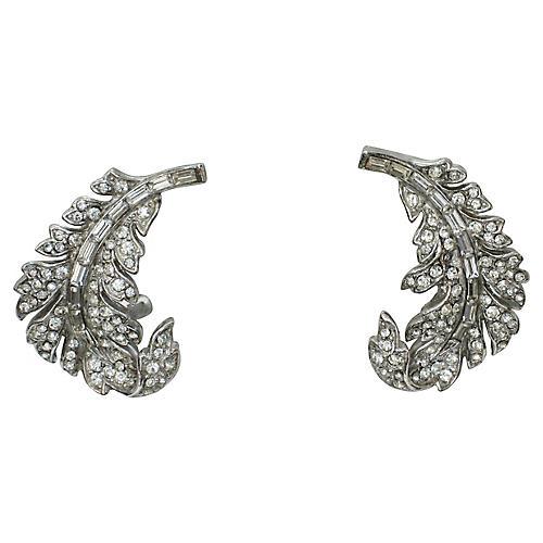 1950s Silver Leaf Crystal Earrings